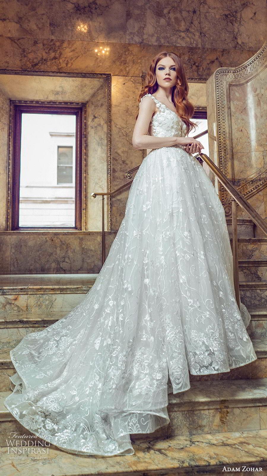 adam zohar 2020 bridal sleeveless sheer straps sweetheart fully embellished lace a line ball gown wedding dress (9) romantic princess chapel train mv