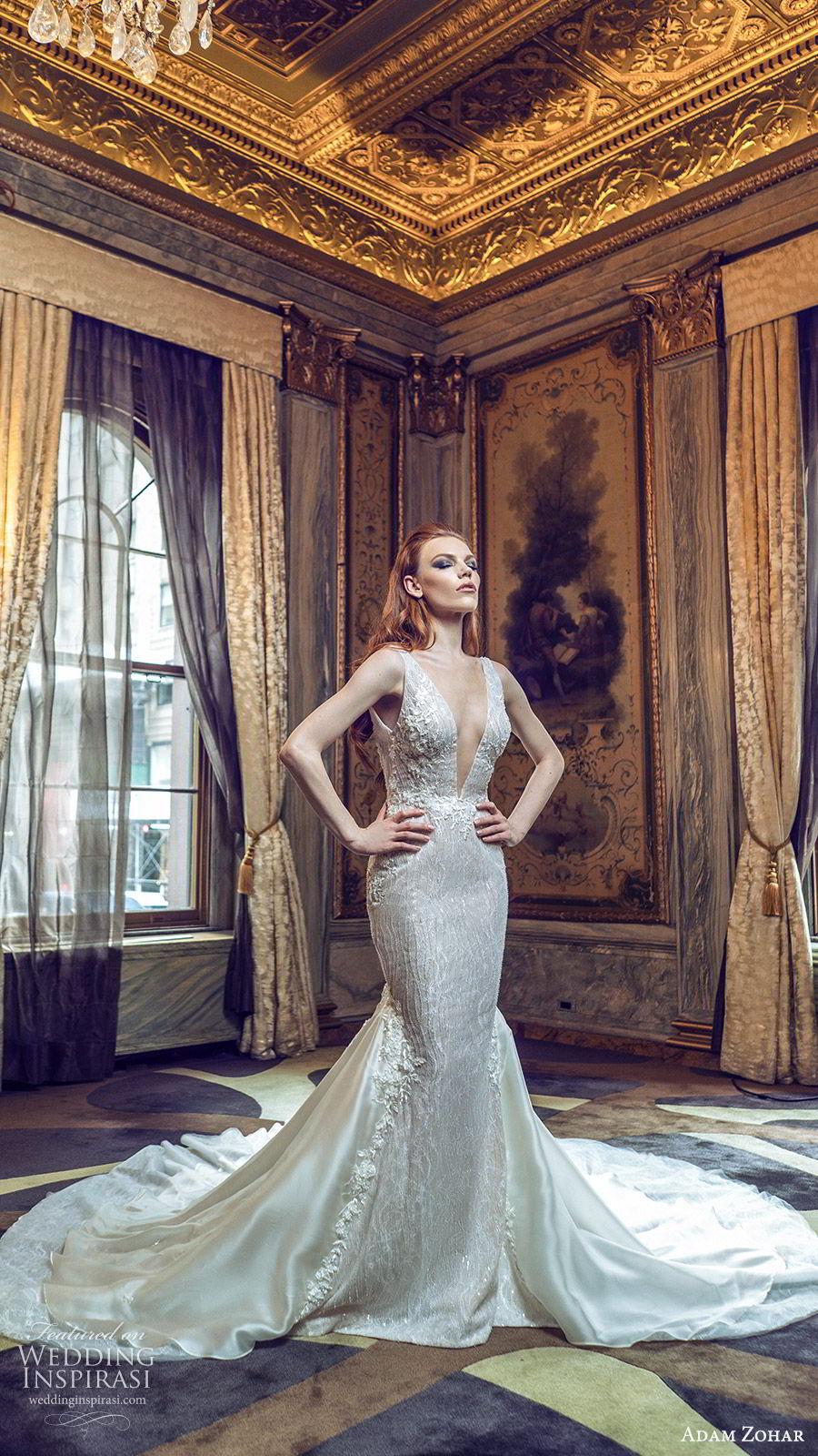 adam zohar 2020 bridal sleeveless straps deep v neckline fully embellished sheath mermaid wedding dress (5) cathedral train glam elegant mv