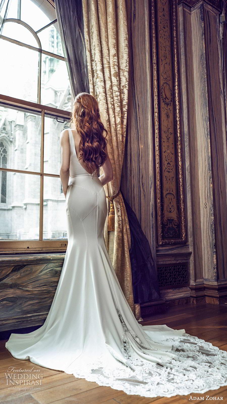 adam zohar 2020 bridal sleeveless straps deep v neckline minimal sheath wedding dress (4) clean modern chic lace chapel train bv