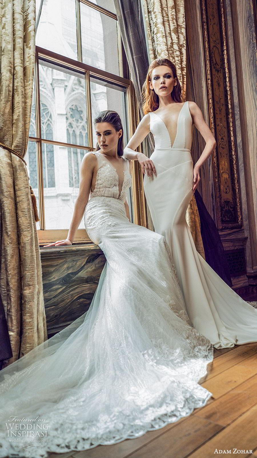 adam zohar 2020 bridal sleeveless straps deep v neckline minimal sheath wedding dress (4) clean modern chic lace chapel train fv