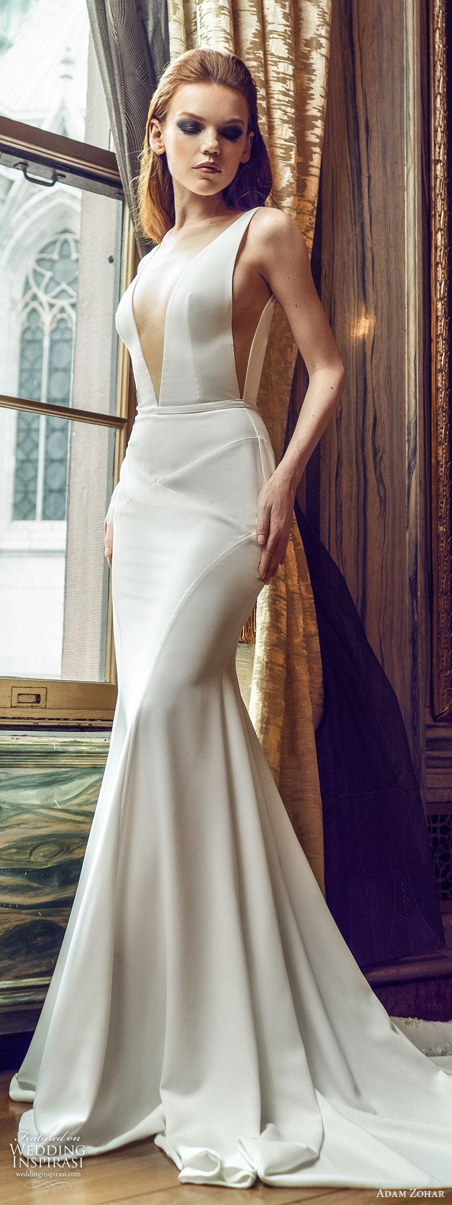 adam zohar 2020 bridal sleeveless straps deep v neckline minimal sheath wedding dress (4) clean modern chic lace chapel train lv