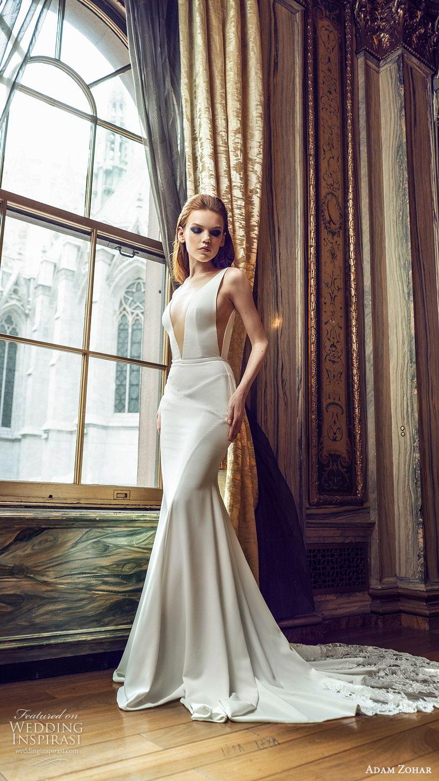 adam zohar 2020 bridal sleeveless straps deep v neckline minimal sheath wedding dress (4) clean modern chic lace chapel train mv