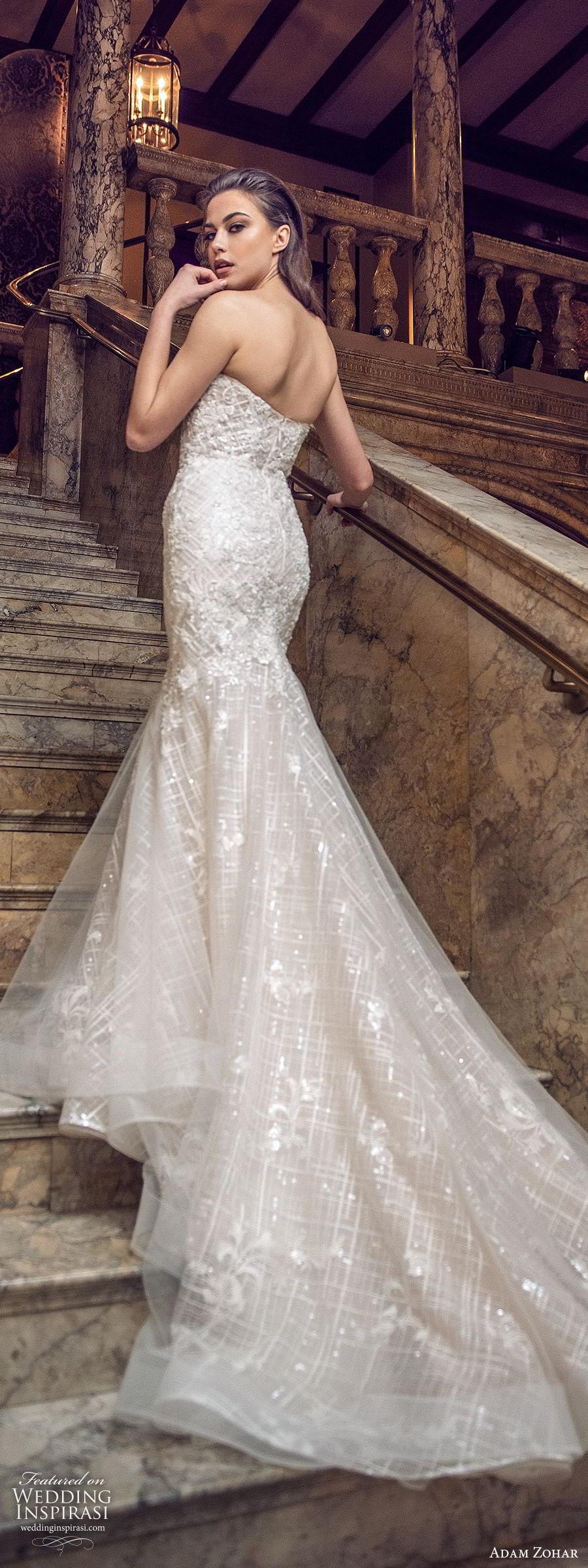 adam zohar 2020 bridal strapless semi sweetheart fully embellished sheath mermaid wedding dress (8) glitzy glam elegant chapel train bv