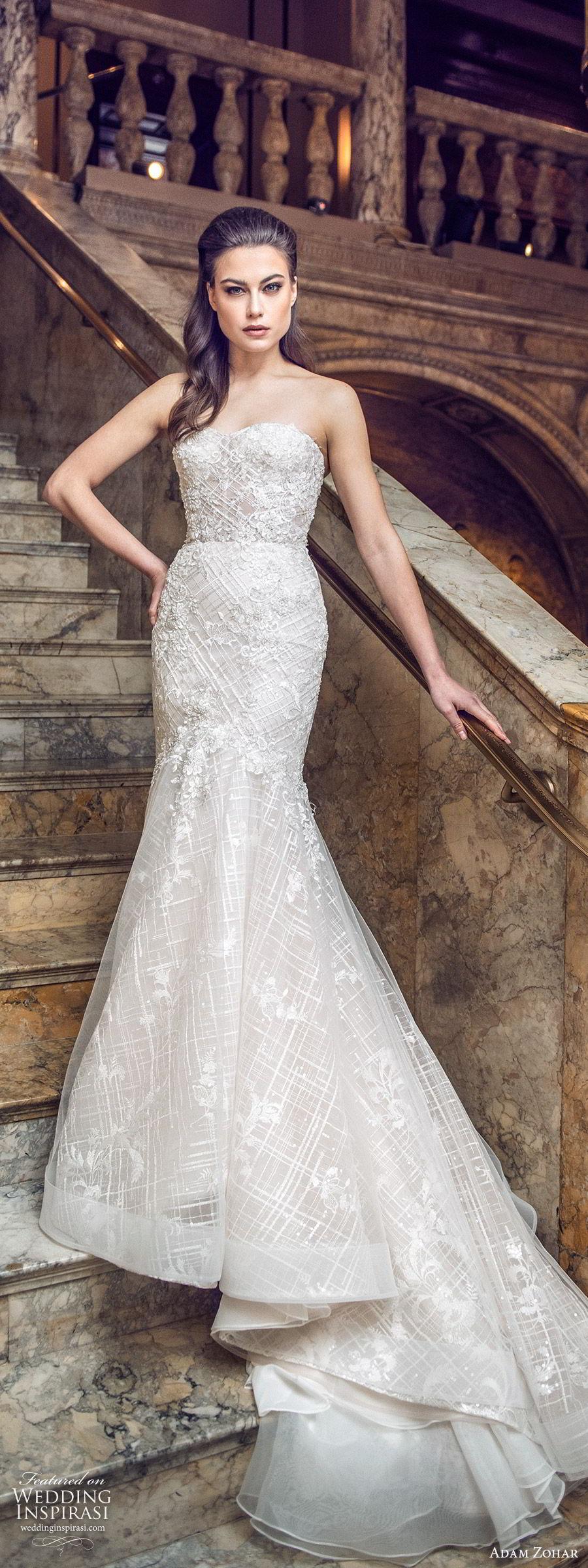 adam zohar 2020 bridal strapless semi sweetheart fully embellished sheath mermaid wedding dress (8) glitzy glam elegant chapel train mv