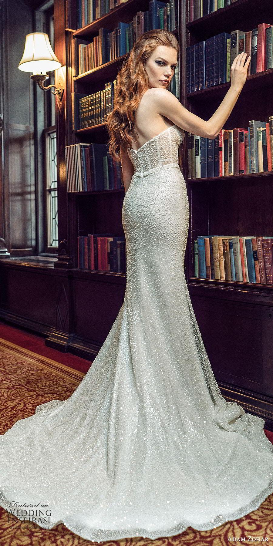 adam zohar 2020 bridal strapless semi sweetheart fully embellished trumpet fit flare mermaid wedding dress (10) glitzy glam slit skirt chapel train bv