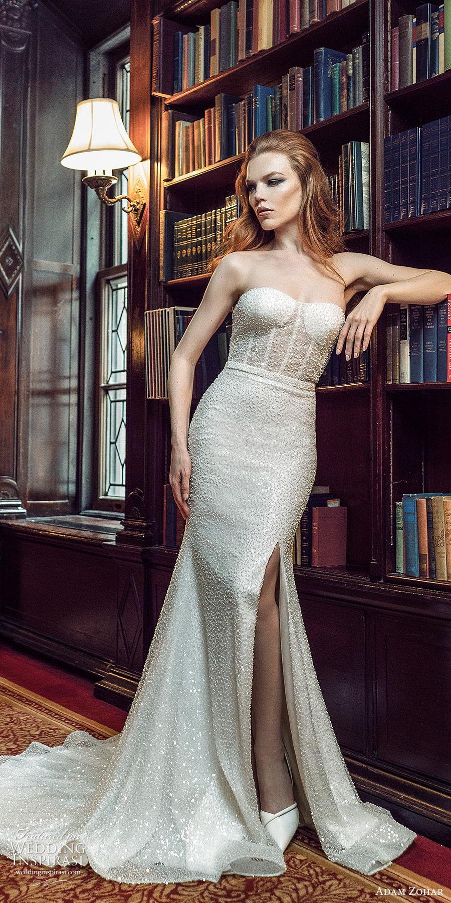 adam zohar 2020 bridal strapless semi sweetheart fully embellished trumpet fit flare mermaid wedding dress (10) glitzy glam slit skirt chapel train mv