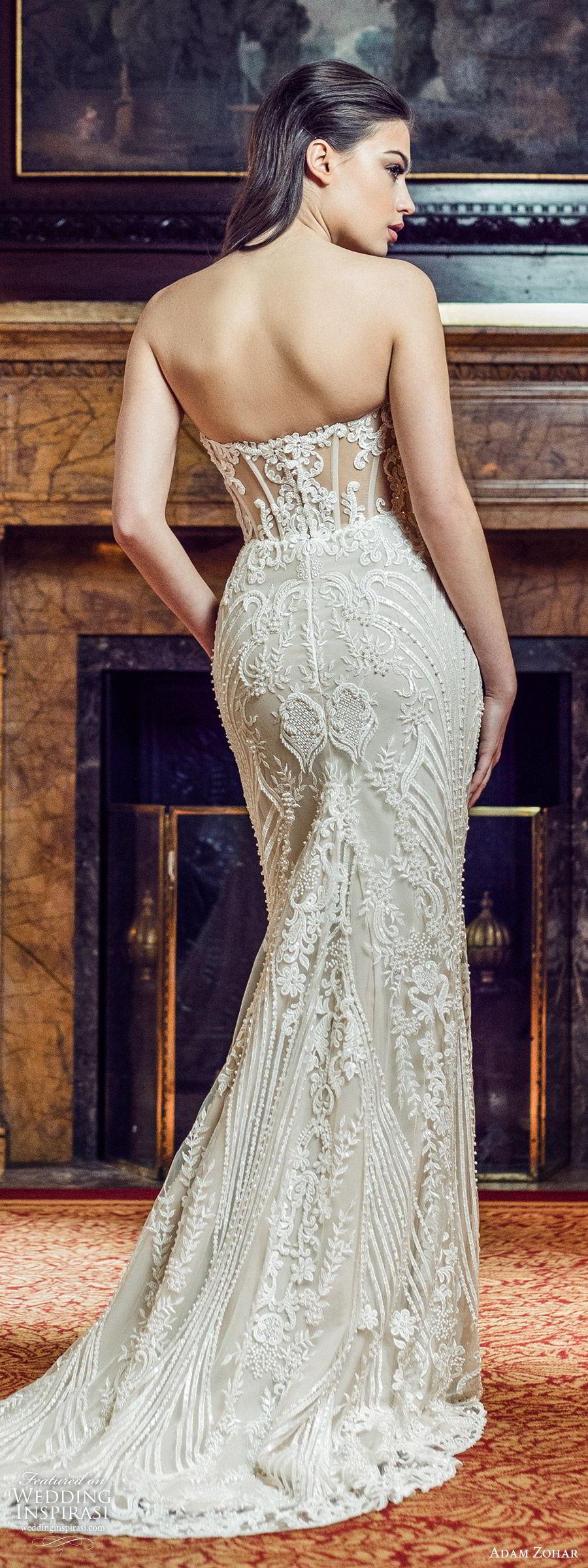 adam zohar 2020 bridal strapless sweetheart fully embellished lace sheath wedding dress b(11) glam elegant chapel train bv