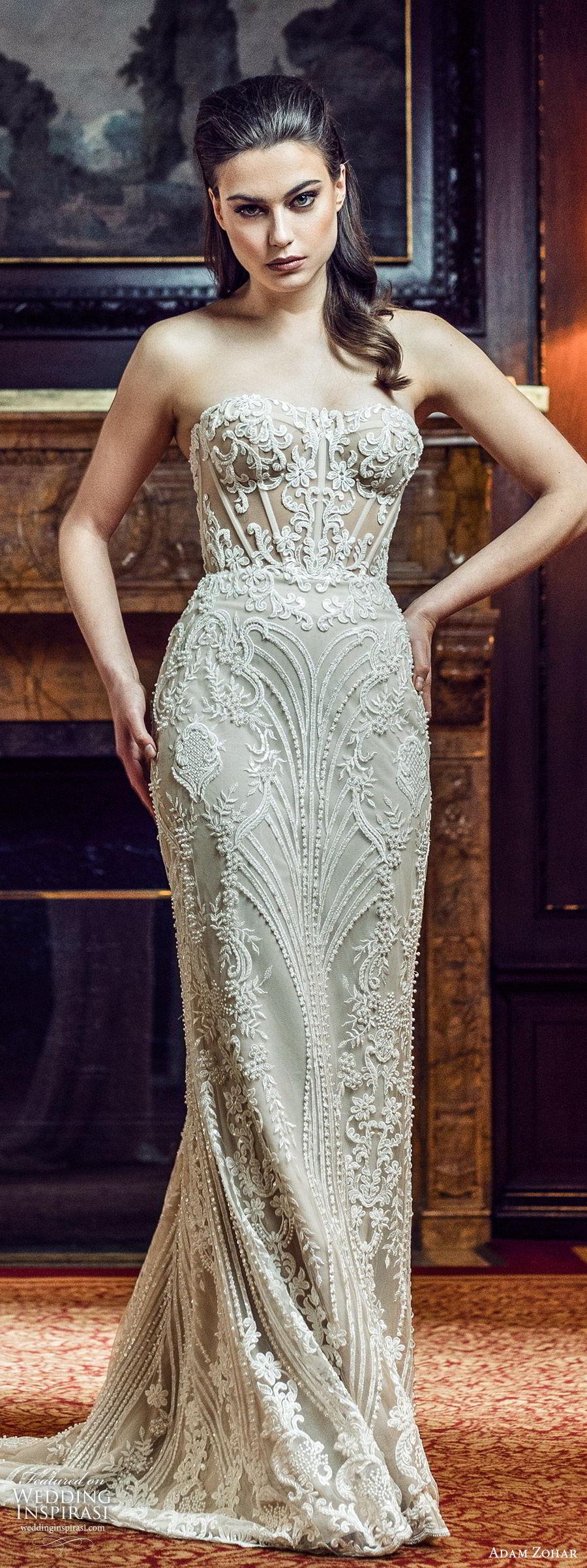 adam zohar 2020 bridal strapless sweetheart fully embellished lace sheath wedding dress b(11) glam elegant chapel train mv