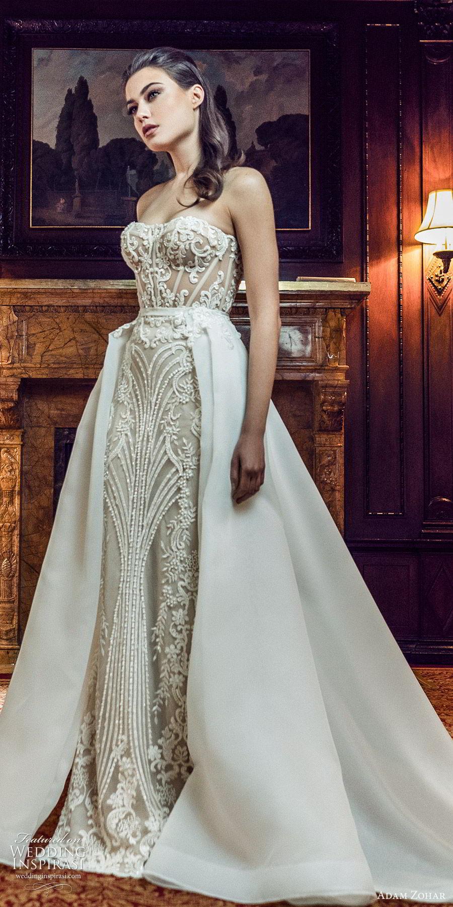 adam zohar 2020 bridal strapless sweetheart fully embellished lace sheath wedding dress ball gown overskirt (11) glam elegant chapel train mv