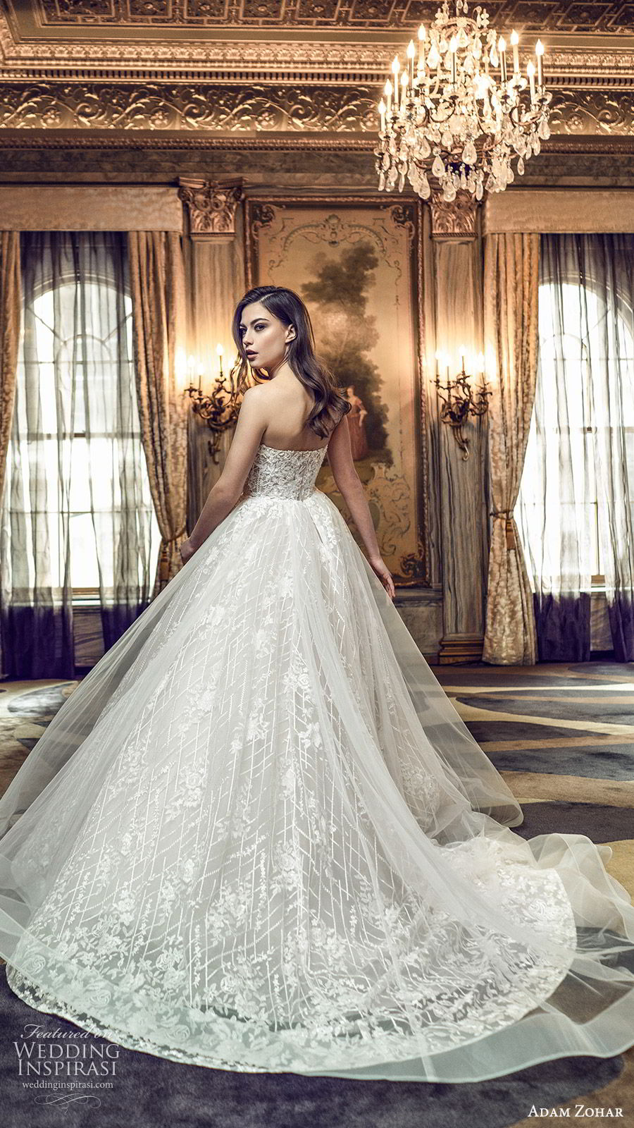 adam zohar 2020 bridal straplesss sweetheart fully embellished a line ball gown wedding dress (2) romantic princess chapel train bv