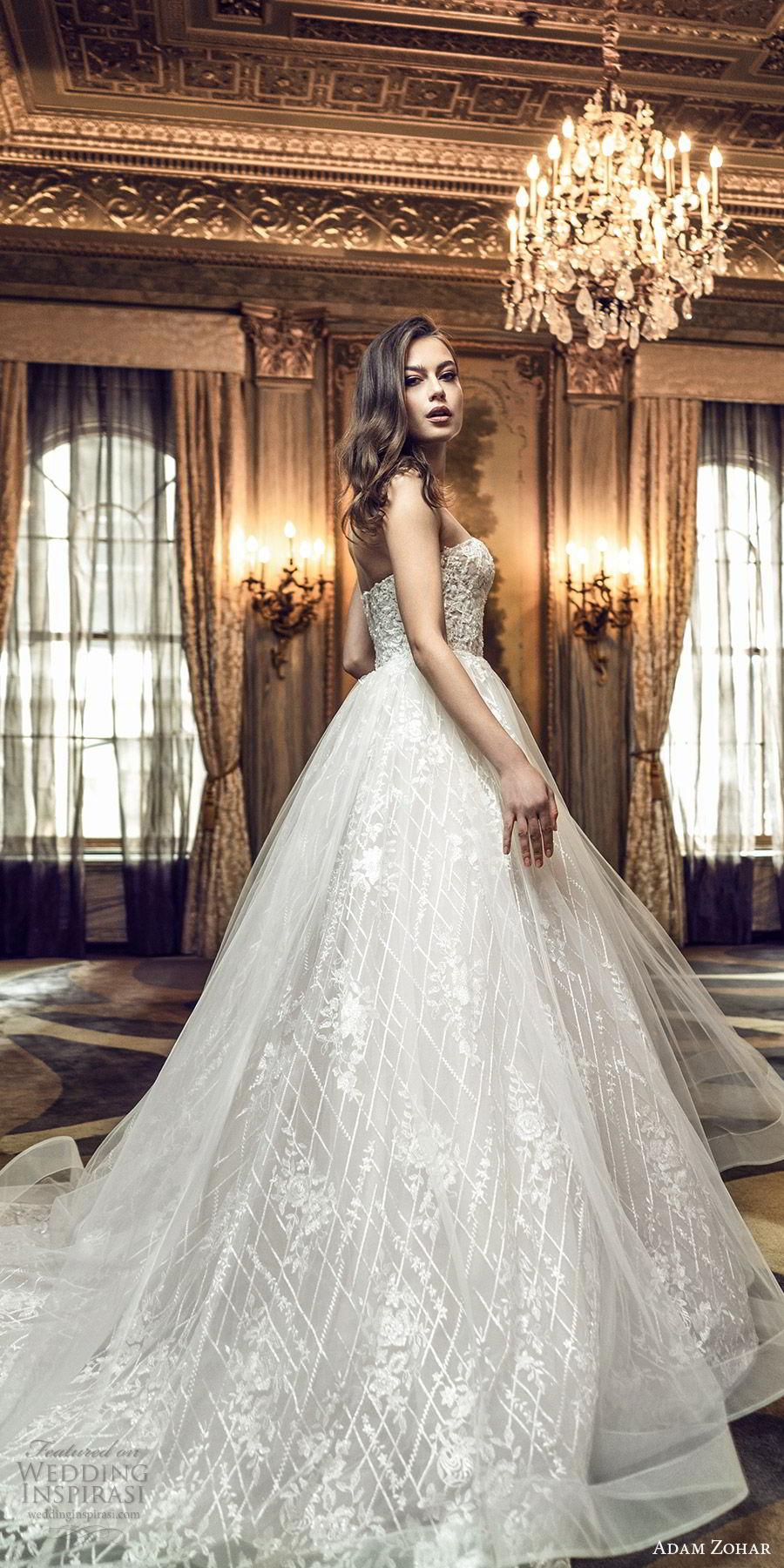 adam zohar 2020 bridal straplesss sweetheart fully embellished a line ball gown wedding dress (2) romantic princess chapel train mv