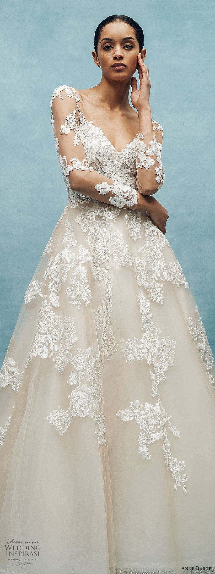 anne barge spring 2020 bridal illusion long sleeves sheer v neck sweetheart lace a line ball gown wedding dress (7) romantic classic chapel train lv