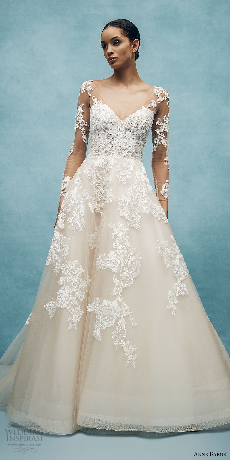 anne barge spring 2020 bridal illusion long sleeves sheer v neck sweetheart lace a line ball gown wedding dress (7) romantic classic chapel train mv