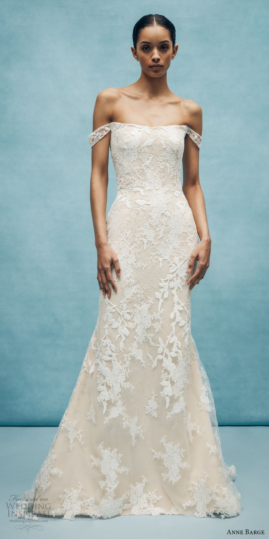 anne barge spring 2020 bridal off shoulder straight across fully embellished lace fit flare modified a line wedding dress (6) elegant chapel train mv