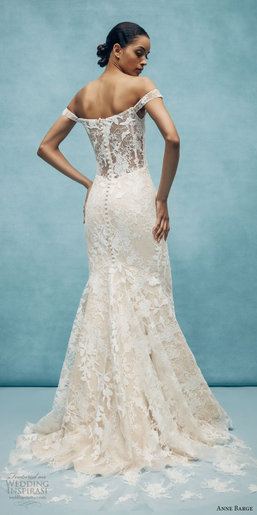 anne barge spring 2020 bridal off shoulder straight across fully embellished lace fit flare modified a line wedding dress (6) elegant chapel train sheer back bv