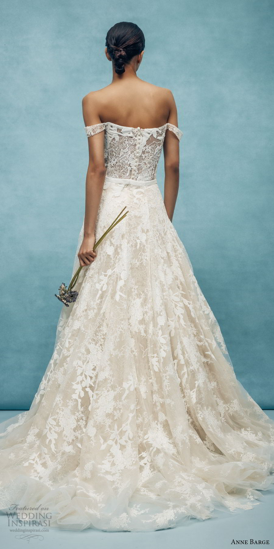 anne barge spring 2020 bridal off shoulder straight across fully embellished lace fit flare modified a line wedding dress (6) elegant overskirt chapel train bv