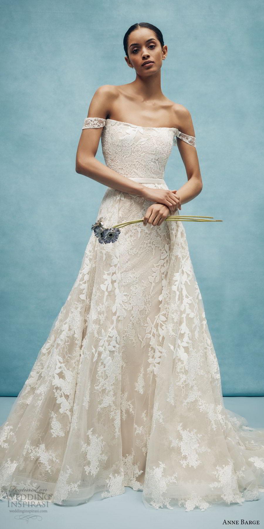 anne barge spring 2020 bridal off shoulder straight across fully embellished lace fit flare modified a line wedding dress (6) elegant overskirt chapel train mv