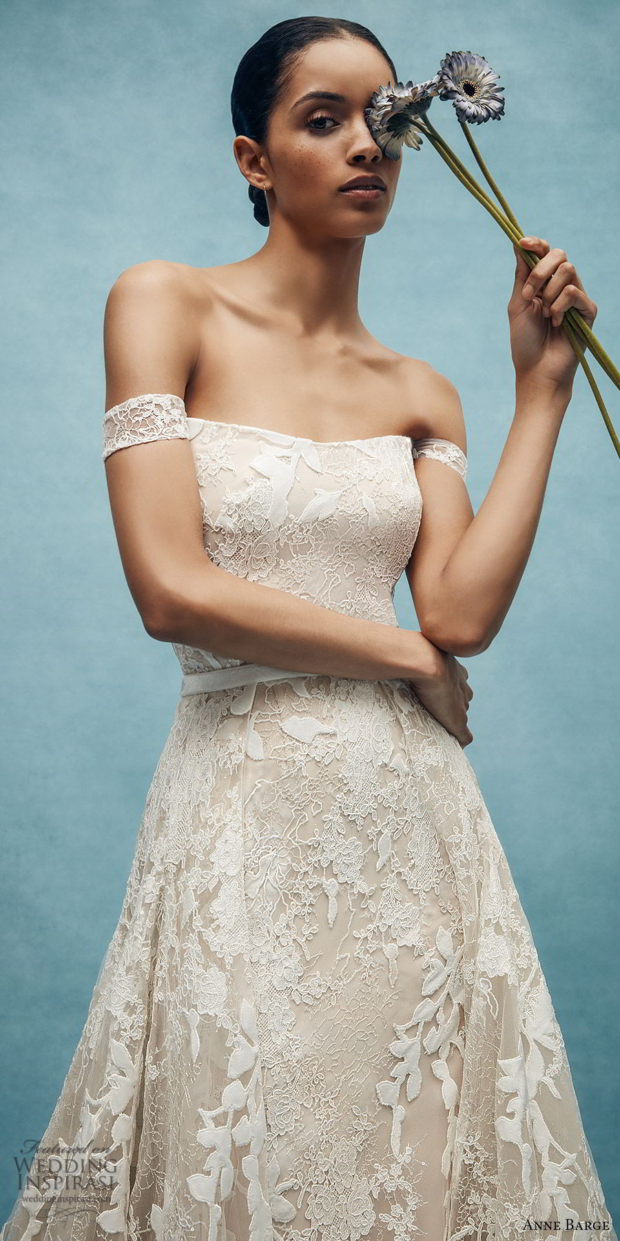 anne barge spring 2020 bridal off shoulder straight across fully embellished lace fit flare modified a line wedding dress (6) elegant overskirt chapel train zv