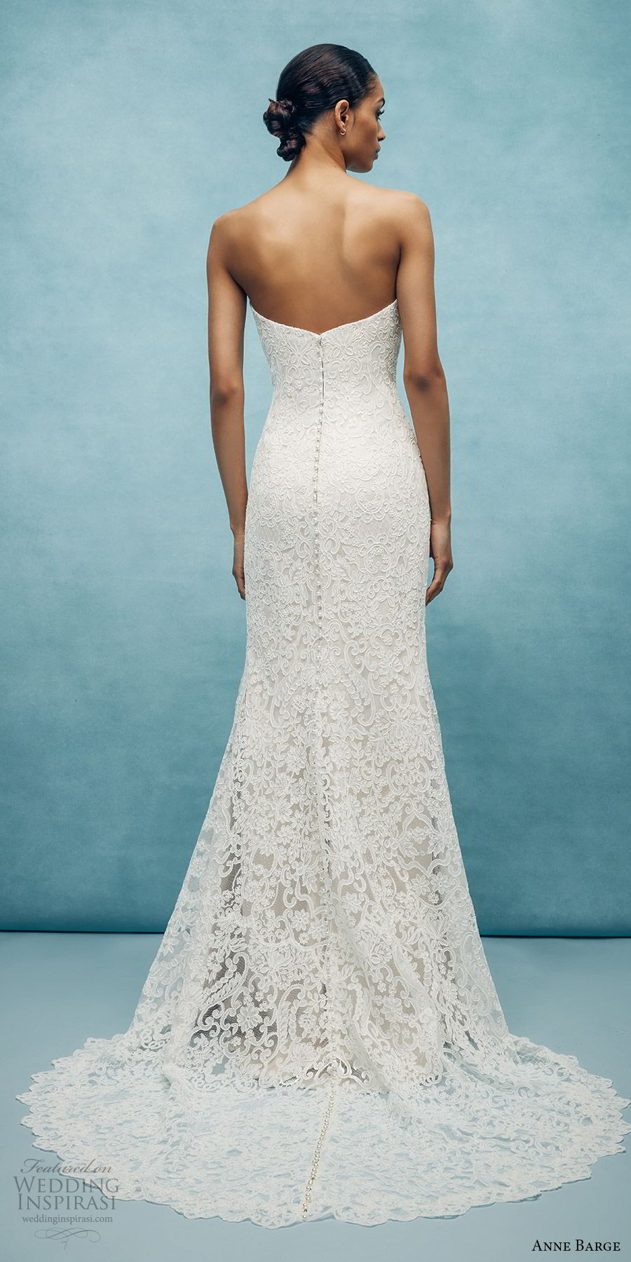 anne barge spring 2020 bridal strapless straight across fully embellished lace sheath wedding dress (3) elegant chapel train bv