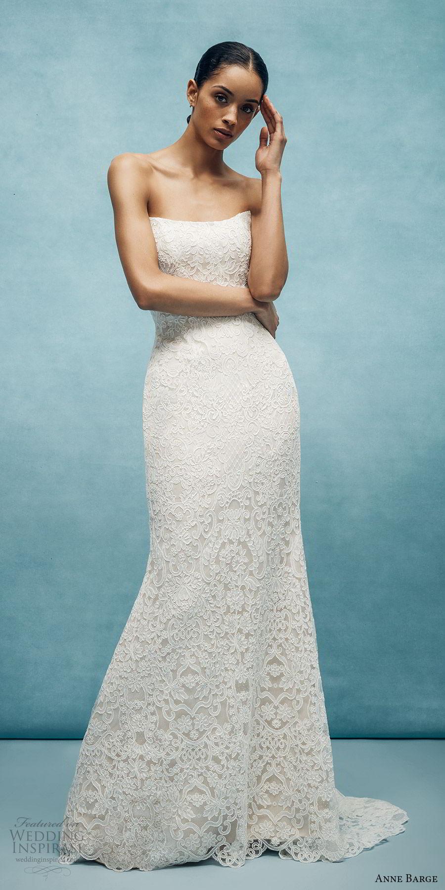 anne barge spring 2020 bridal strapless straight across fully embellished lace sheath wedding dress (3) elegant chapel train mv