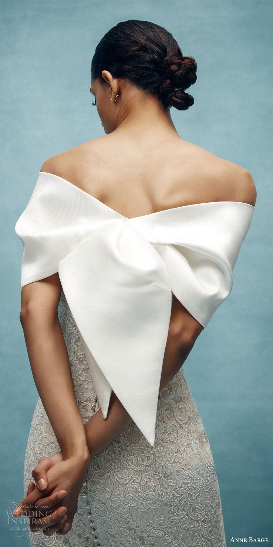 anne barge spring 2020 bridal strapless straight across fully embellished lace sheath wedding dress (3) elegant chapel train sheer bow zbv