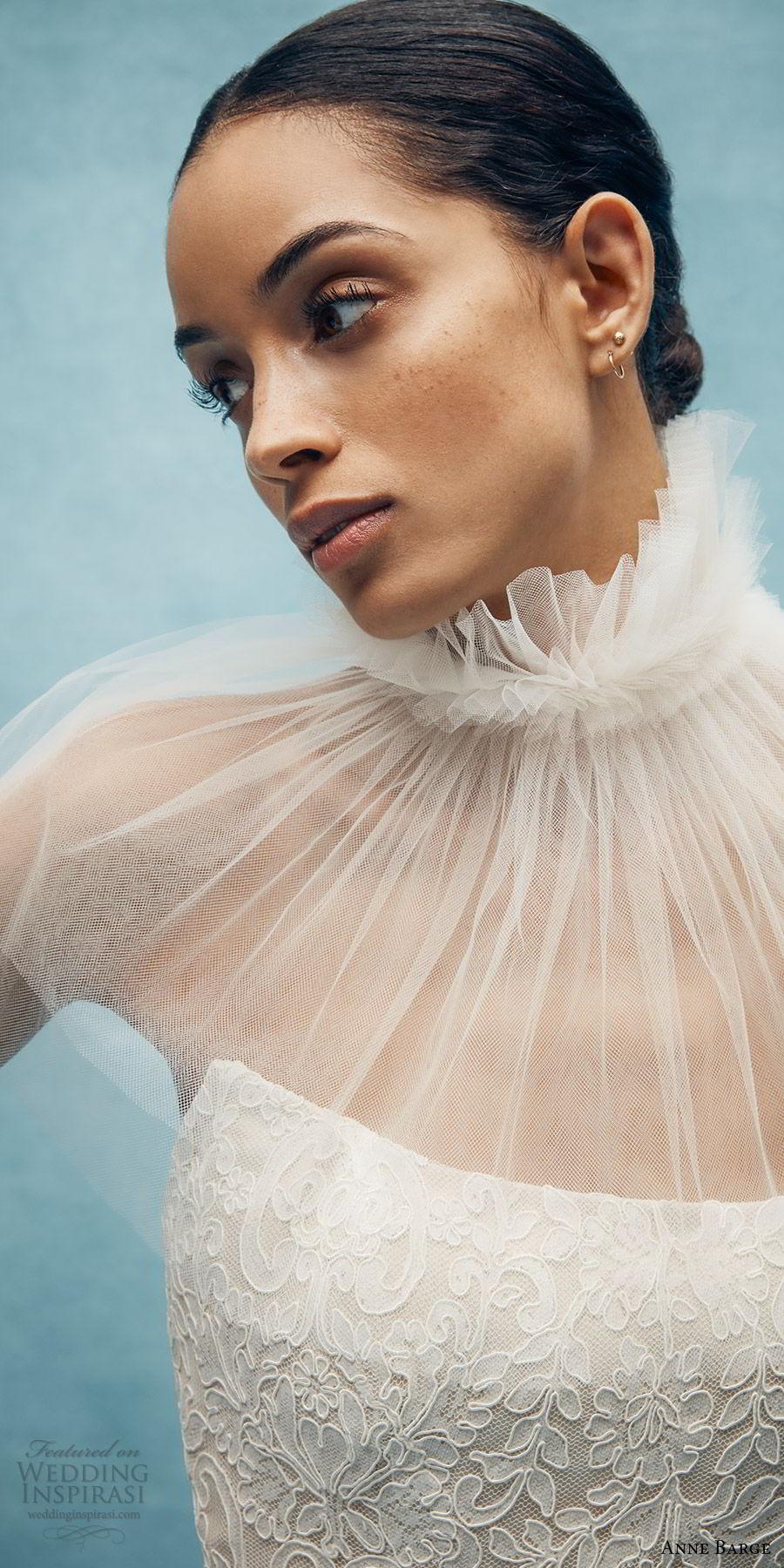 anne barge spring 2020 bridal strapless straight across fully embellished lace sheath wedding dress (3) elegant chapel train sheer capelet zv