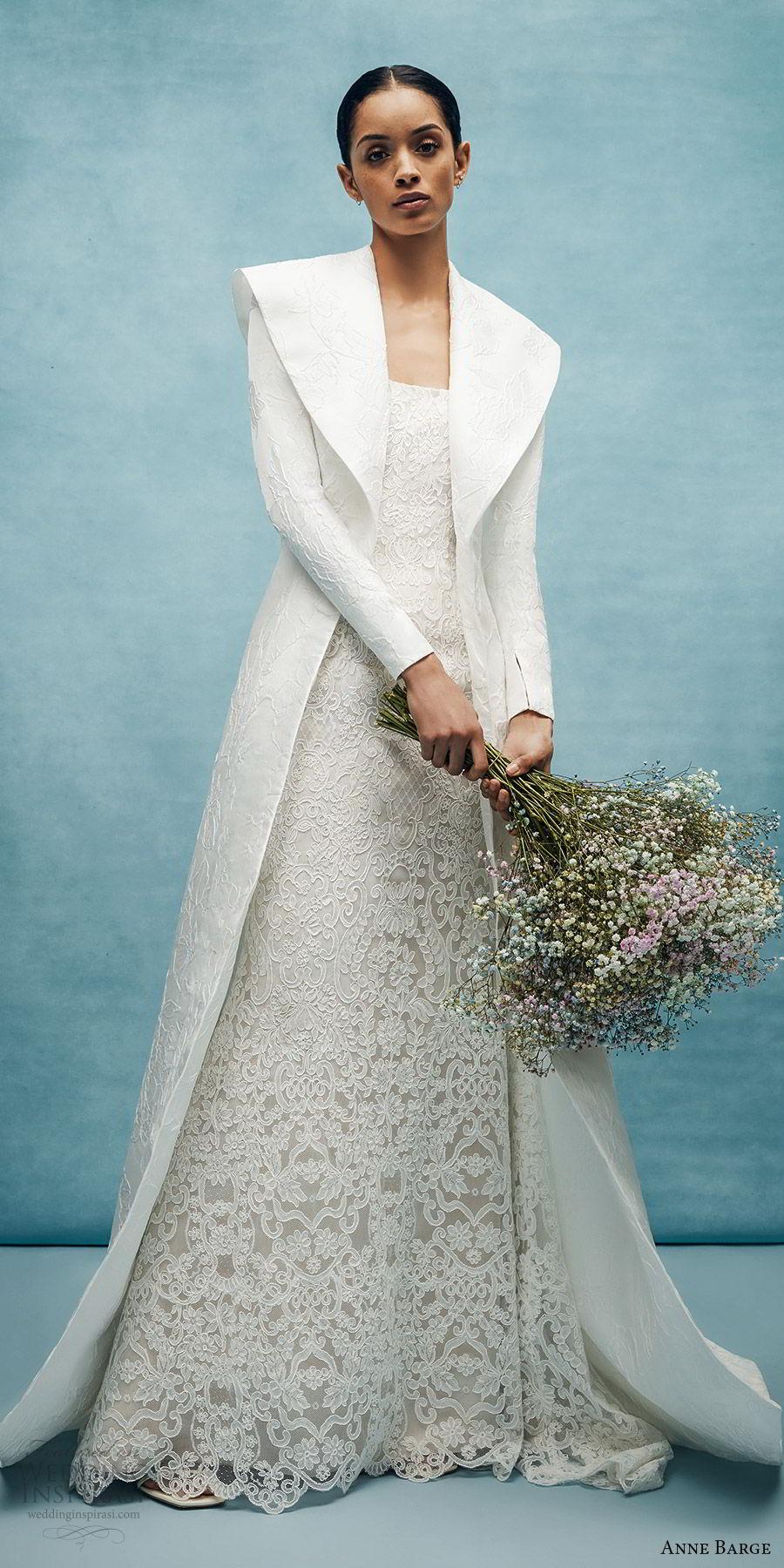 anne barge spring 2020 bridal strapless straight across fully embellished lace sheath wedding dress (3) long sleeve collar jacket elegant chapel train bv