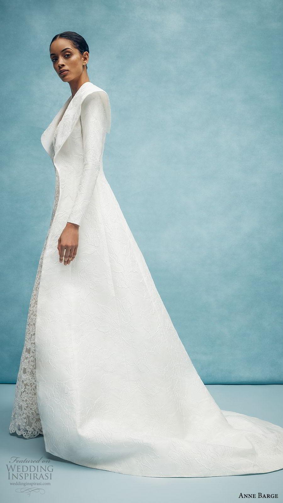 anne barge spring 2020 bridal strapless straight across fully embellished lace sheath wedding dress (3) long sleeve collar jacket elegant chapel train sv