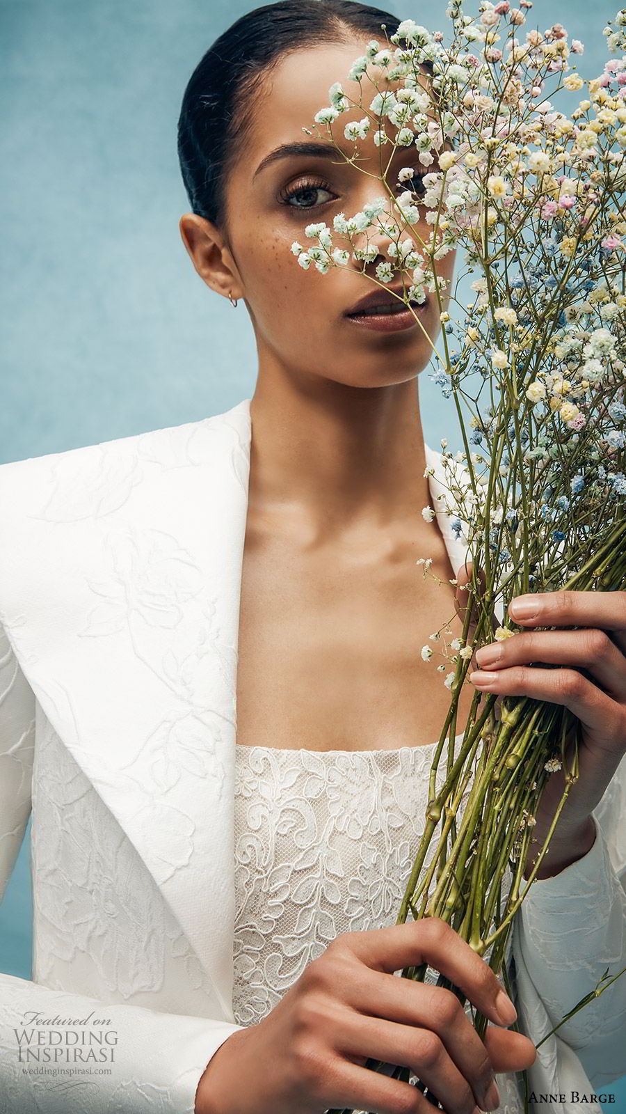 anne barge spring 2020 bridal strapless straight across fully embellished lace sheath wedding dress (3) long sleeve collar jacket elegant chapel train zv