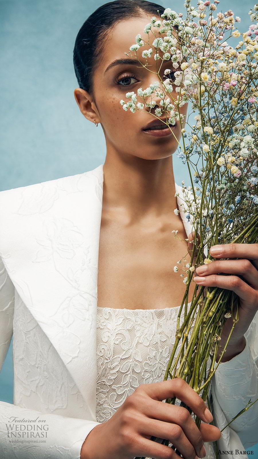 anne barge spring 2020 bridal strapless straight across fully embellished lace sheath wedding dress (3) long sleeve collar jacket elegant chapel train zv