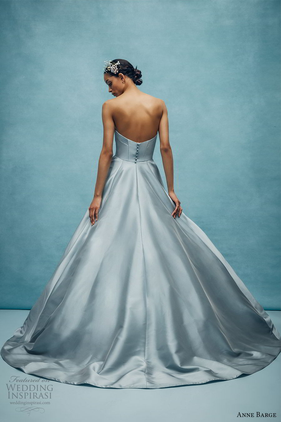anne barge spring 2020 bridal strapless straight across split v neckline a line ball gown wedding dress (4) elegant minimal modern chapel train blue color bv