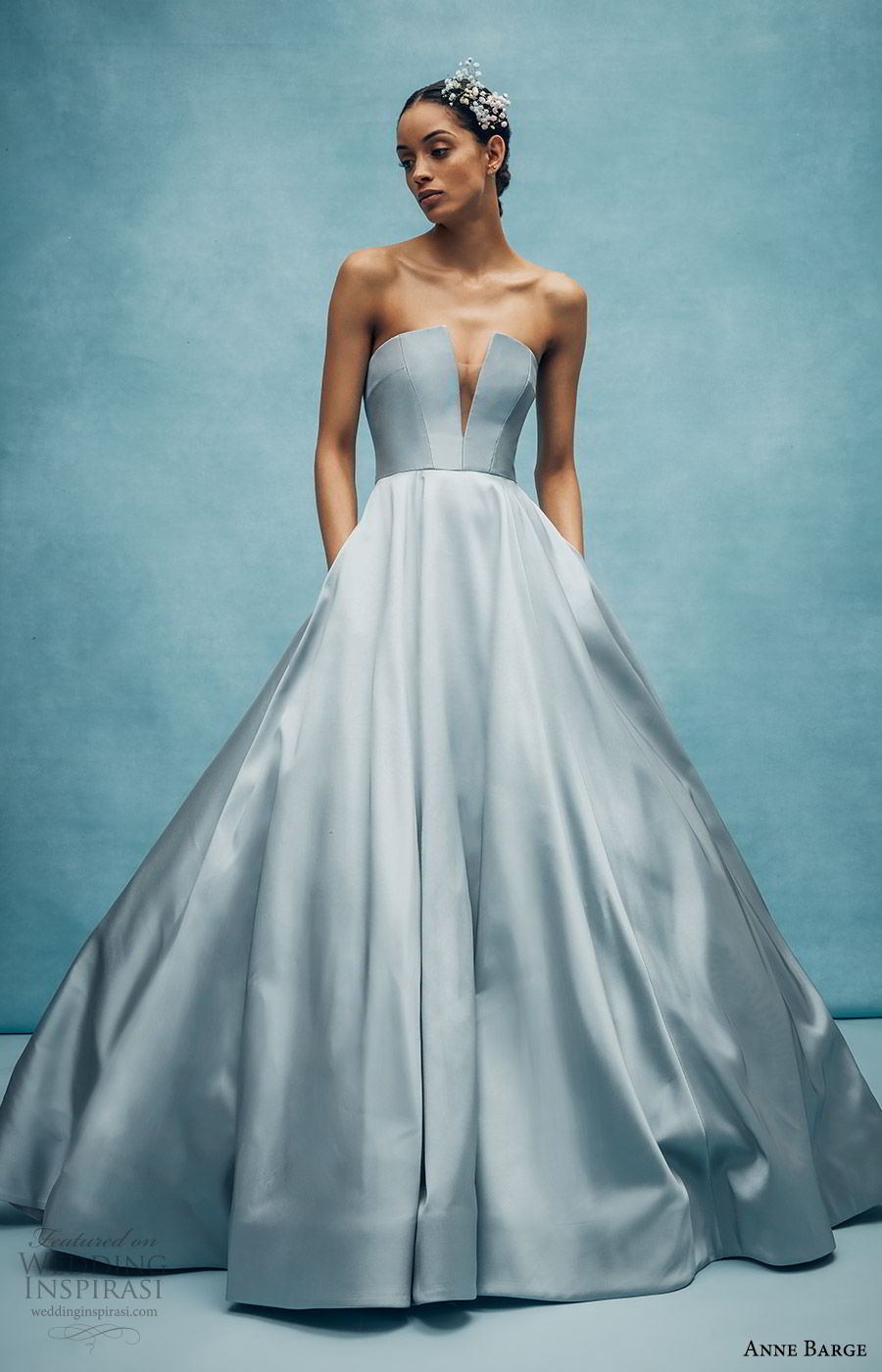 anne barge spring 2020 bridal strapless straight across split v neckline a line ball gown wedding dress (4) elegant minimal modern chapel train blue color mv