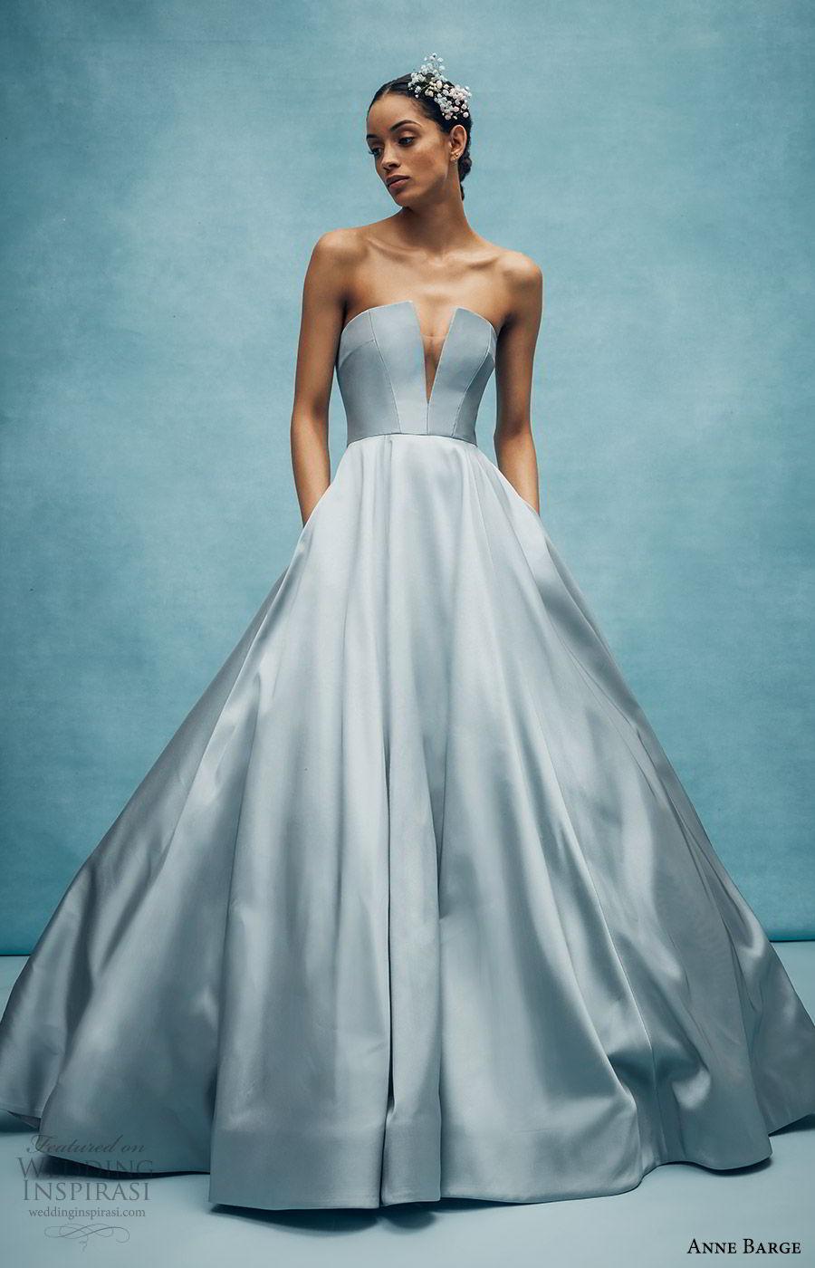 anne barge spring 2020 bridal strapless straight across split v neckline a line ball gown wedding dress (4) elegant minimal modern chapel train blue color mv
