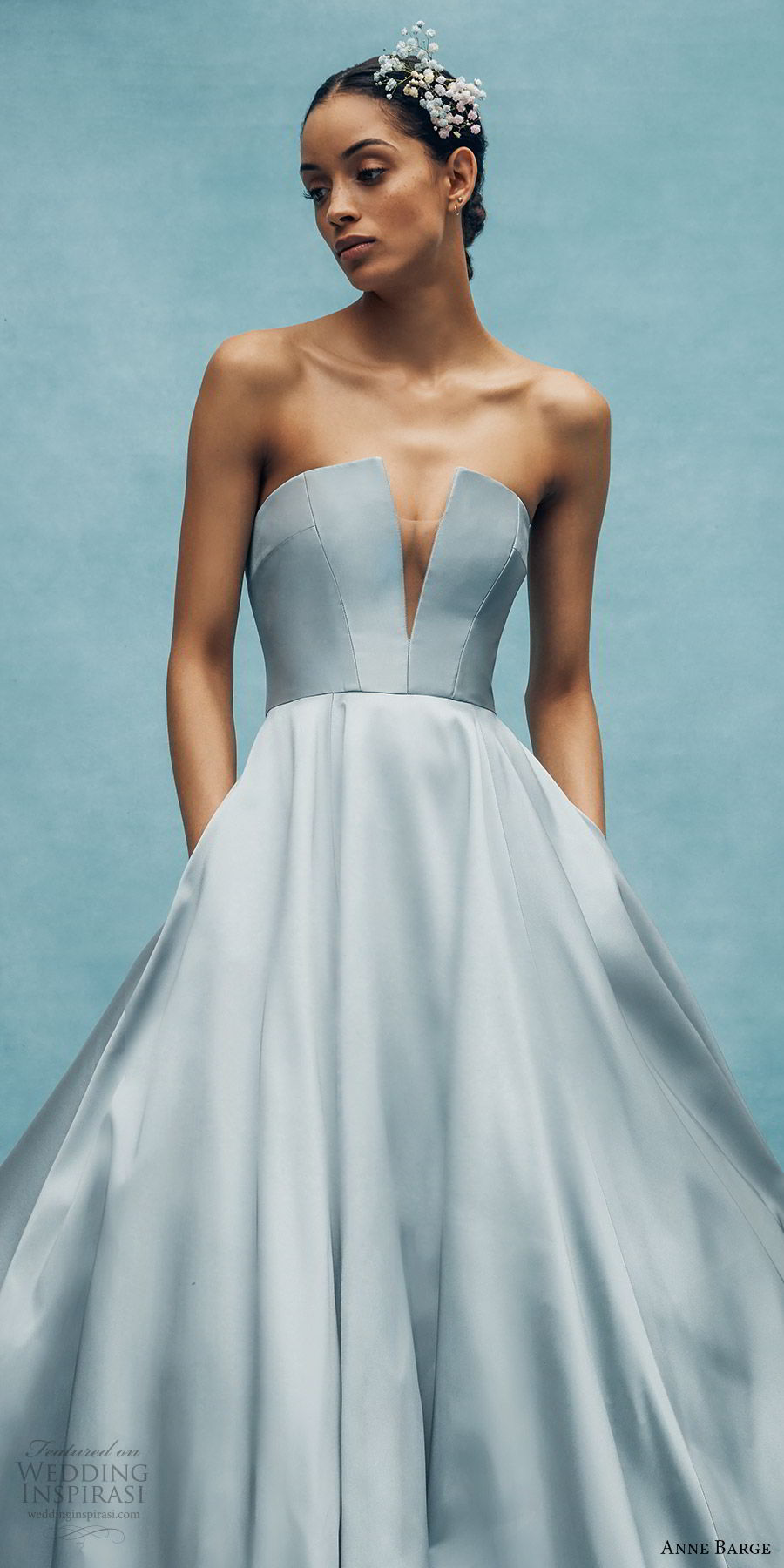 anne barge spring 2020 bridal strapless straight across split v neckline a line ball gown wedding dress (4) elegant minimal modern chapel train blue color zv