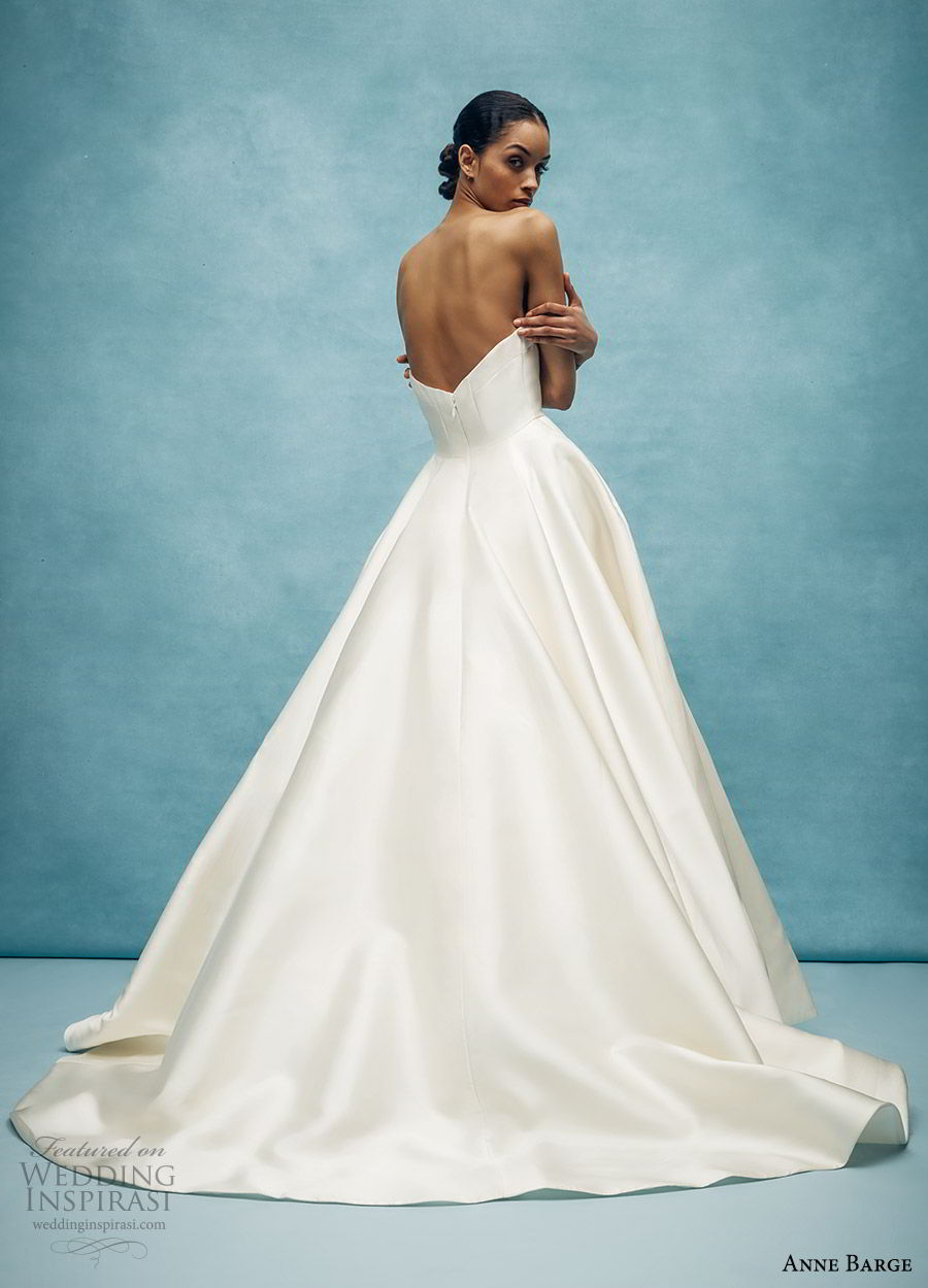 anne barge spring 2020 bridal strapless straight across split v neckline a line ball gown wedding dress (4) elegant minimal modern chapel train bv