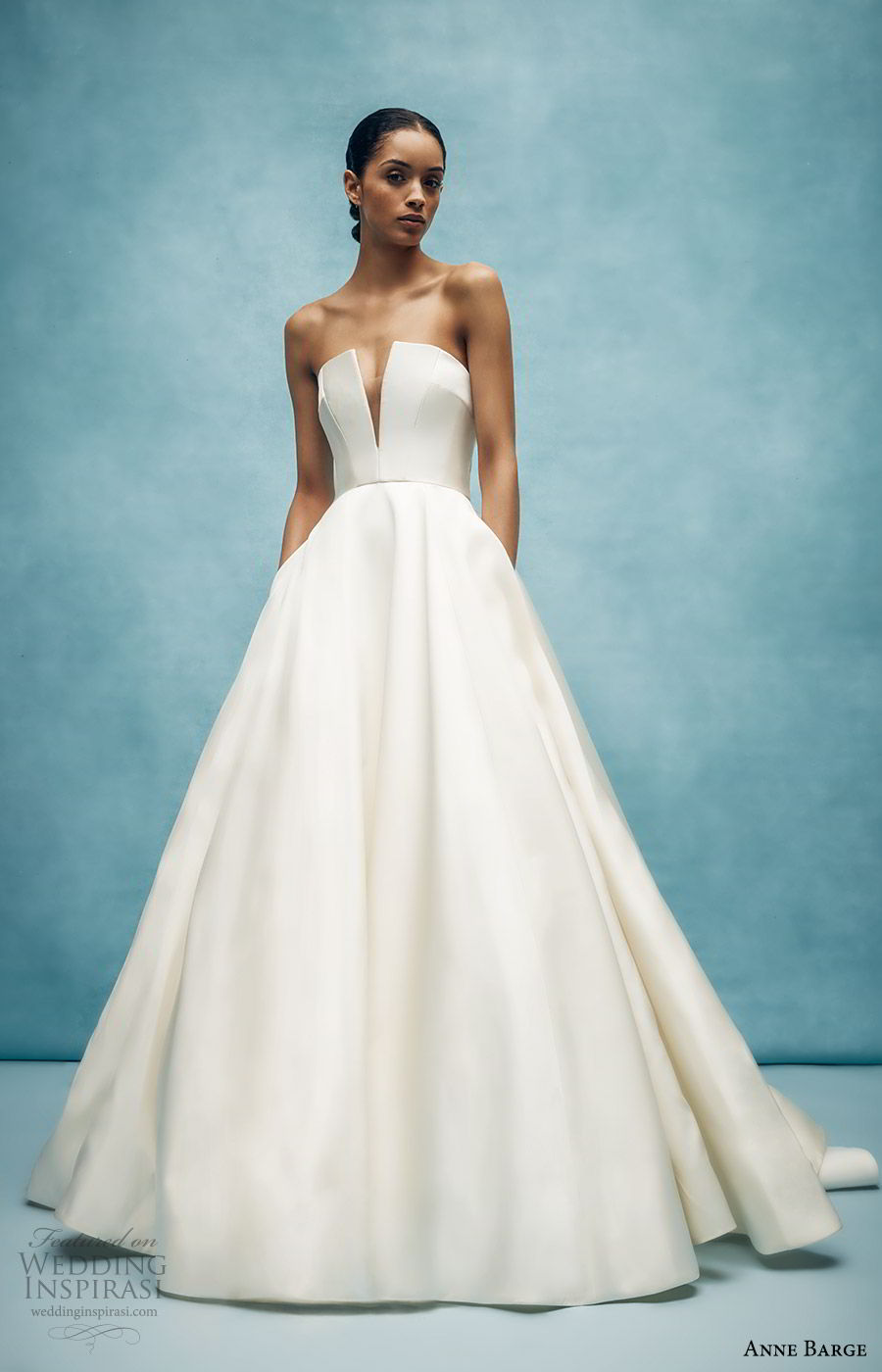 anne barge spring 2020 bridal strapless straight across split v neckline a line ball gown wedding dress (4) elegant minimal modern chapel train mv