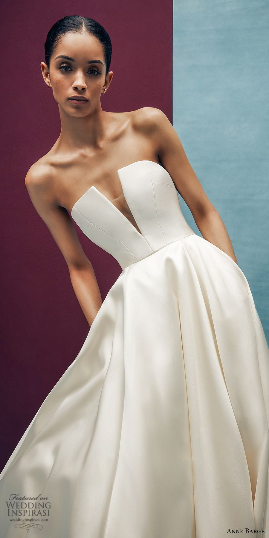 anne barge spring 2020 bridal strapless straight across split v neckline a line ball gown wedding dress (4) elegant minimal modern chapel train zv
