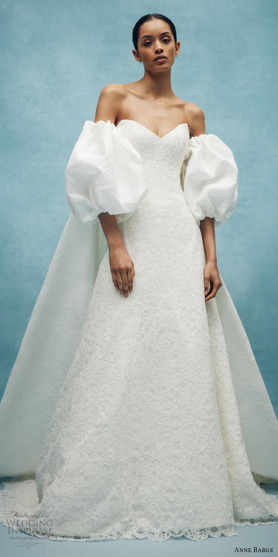 anne barge spring 2020 bridal strapless sweetheart embellished a line wedding dress (2) puff sleeve jacket elegant classic chapel train mv