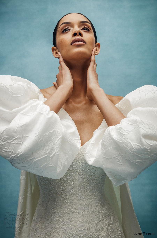 anne barge spring 2020 bridal strapless sweetheart embellished a line wedding dress (2) puff sleeve jacket elegant classic chapel train zv