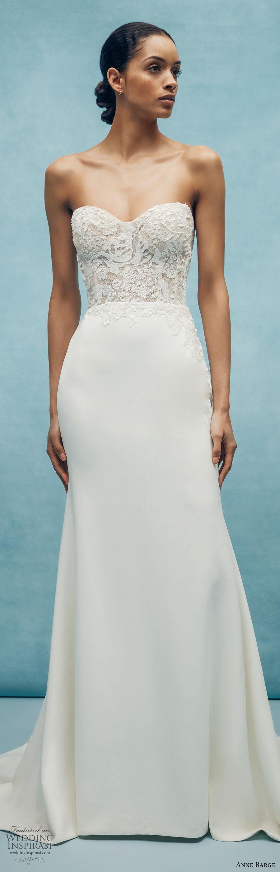 anne barge spring 2020 bridal strapless sweetheart lace bodice mermaid sheath wedding dress (1) romantic modern chapel train mv