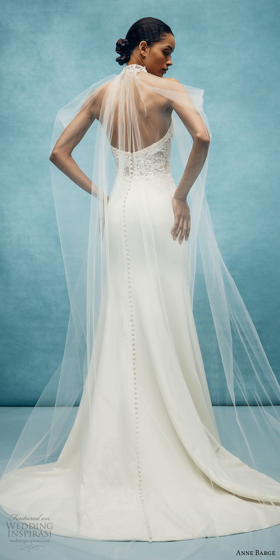 anne barge spring 2020 bridal strapless sweetheart lace bodice mermaid sheath wedding dress (1) sheer cape romantic modern chapel train bv
