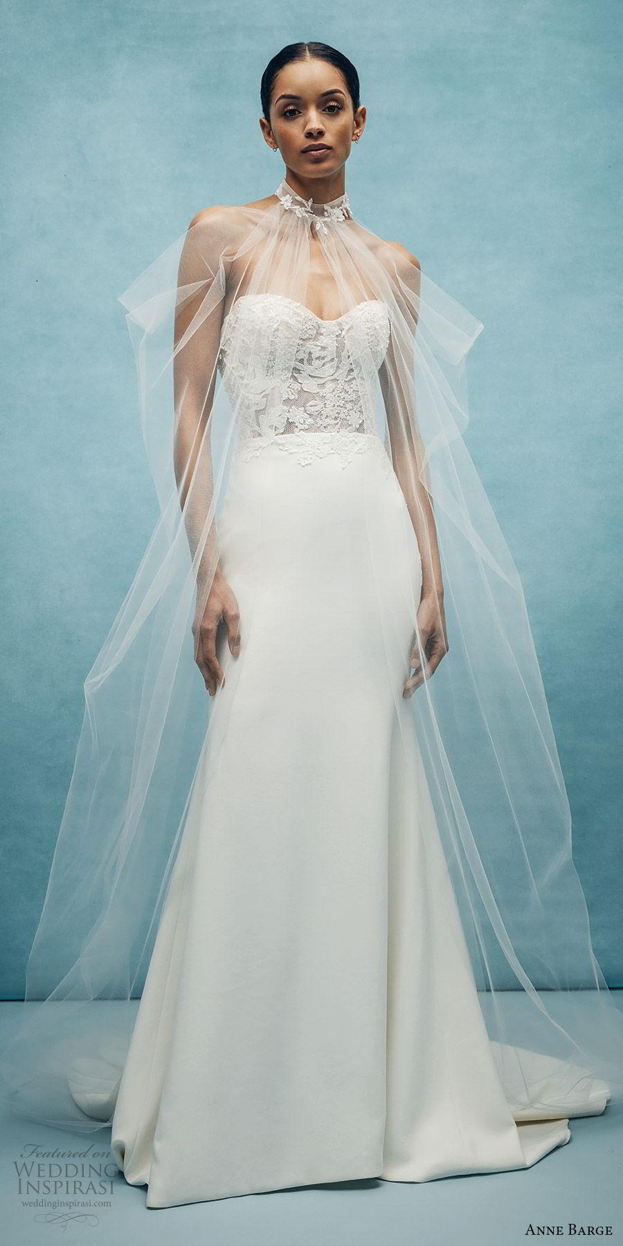 anne barge spring 2020 bridal strapless sweetheart lace bodice mermaid sheath wedding dress (1) sheer cape romantic modern chapel train mv