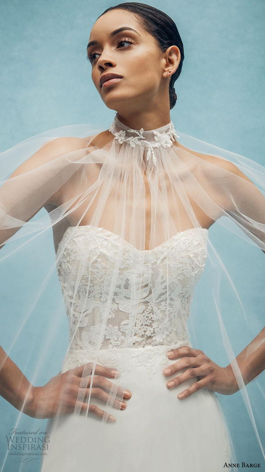 anne barge spring 2020 bridal strapless sweetheart lace bodice mermaid sheath wedding dress (1) sheer cape romantic modern chapel train zv