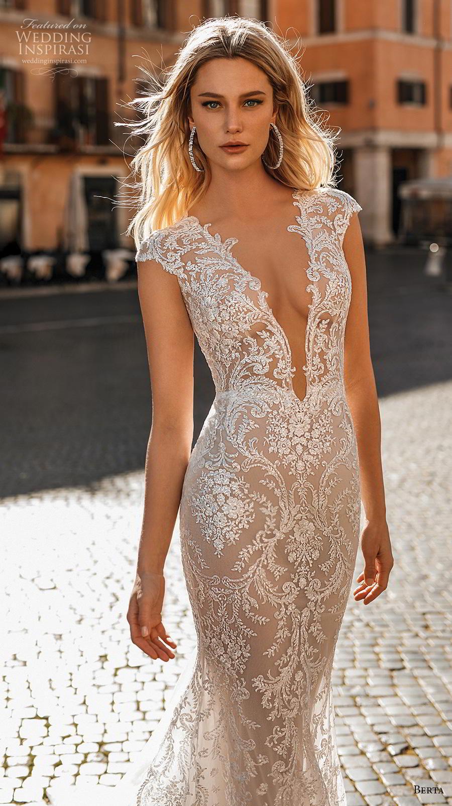 0d31992d7462 berta 2020 privee bridal cap sleeves deep v neck full embellishment elegant  sexy fit and flare