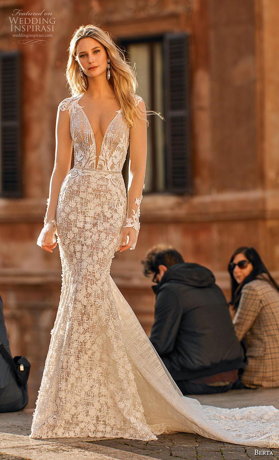 062310486470 berta 2020 privee bridal long sheer sleeves deep v neck full embellishment  elegant sexy mermaid wedding