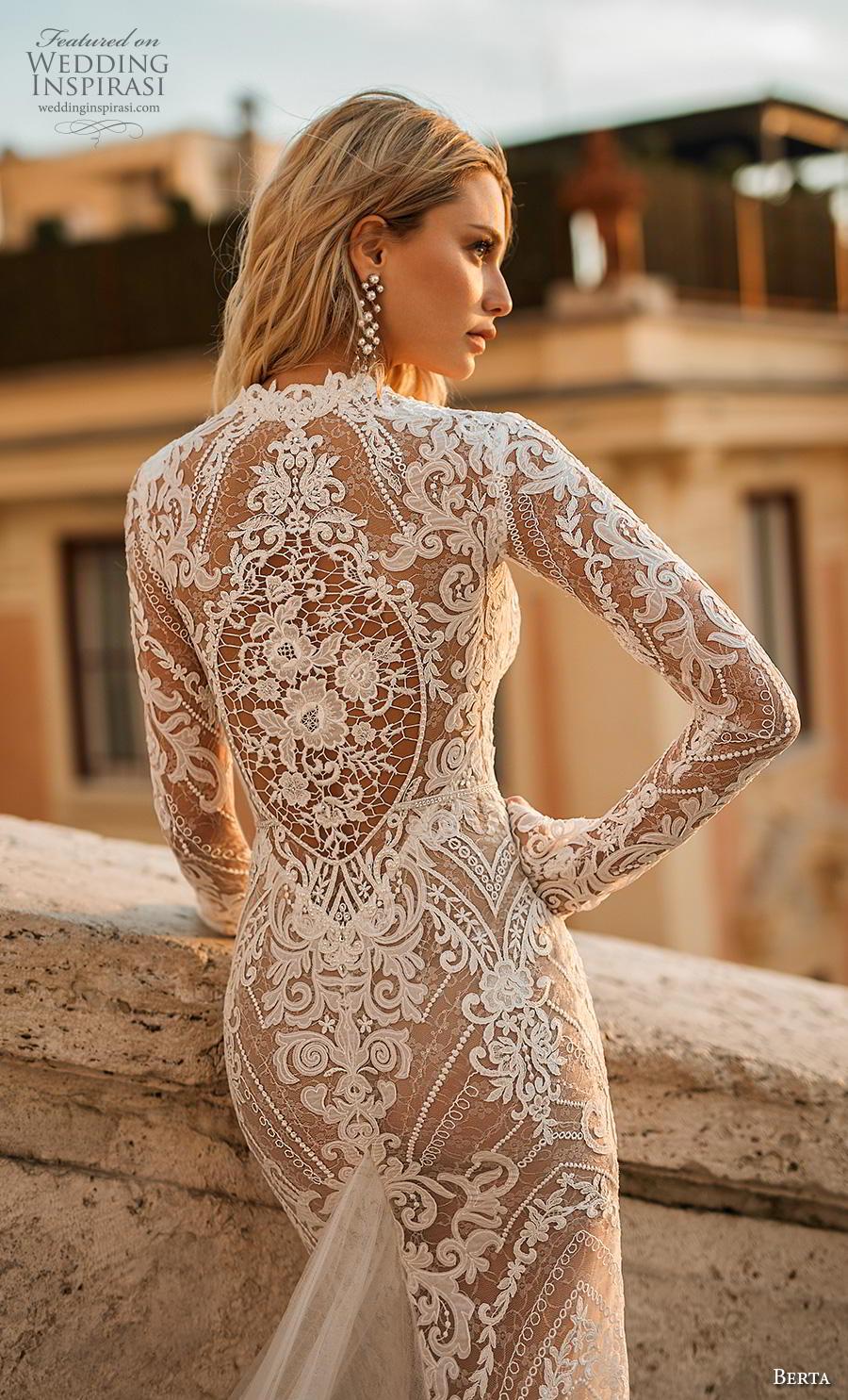 72a2887d911e berta 2020 privee bridal long sleeves deep v neck full embellishment sexy  elegant sheath wedding dress