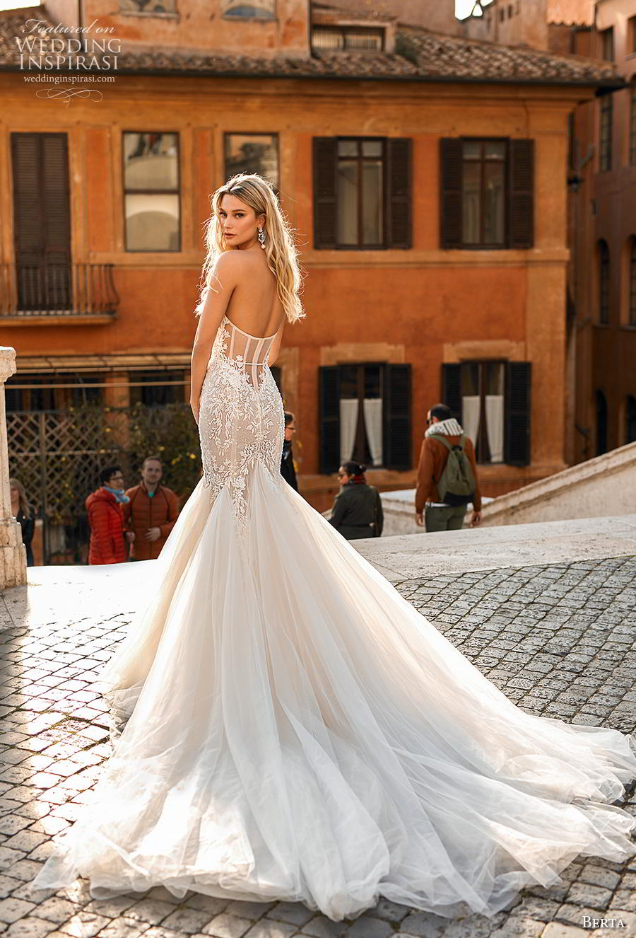 berta 2020 privee bridal strapless sweetheart neckline heavily embellished bodice romantic mermaid wedding dress mid back chapel train (4) bv