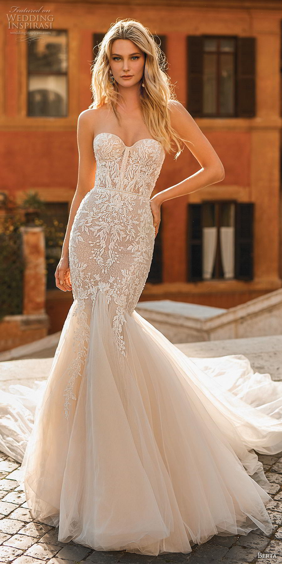 berta 2020 privee bridal strapless sweetheart neckline heavily embellished bodice romantic mermaid wedding dress mid back chapel train (4) lv