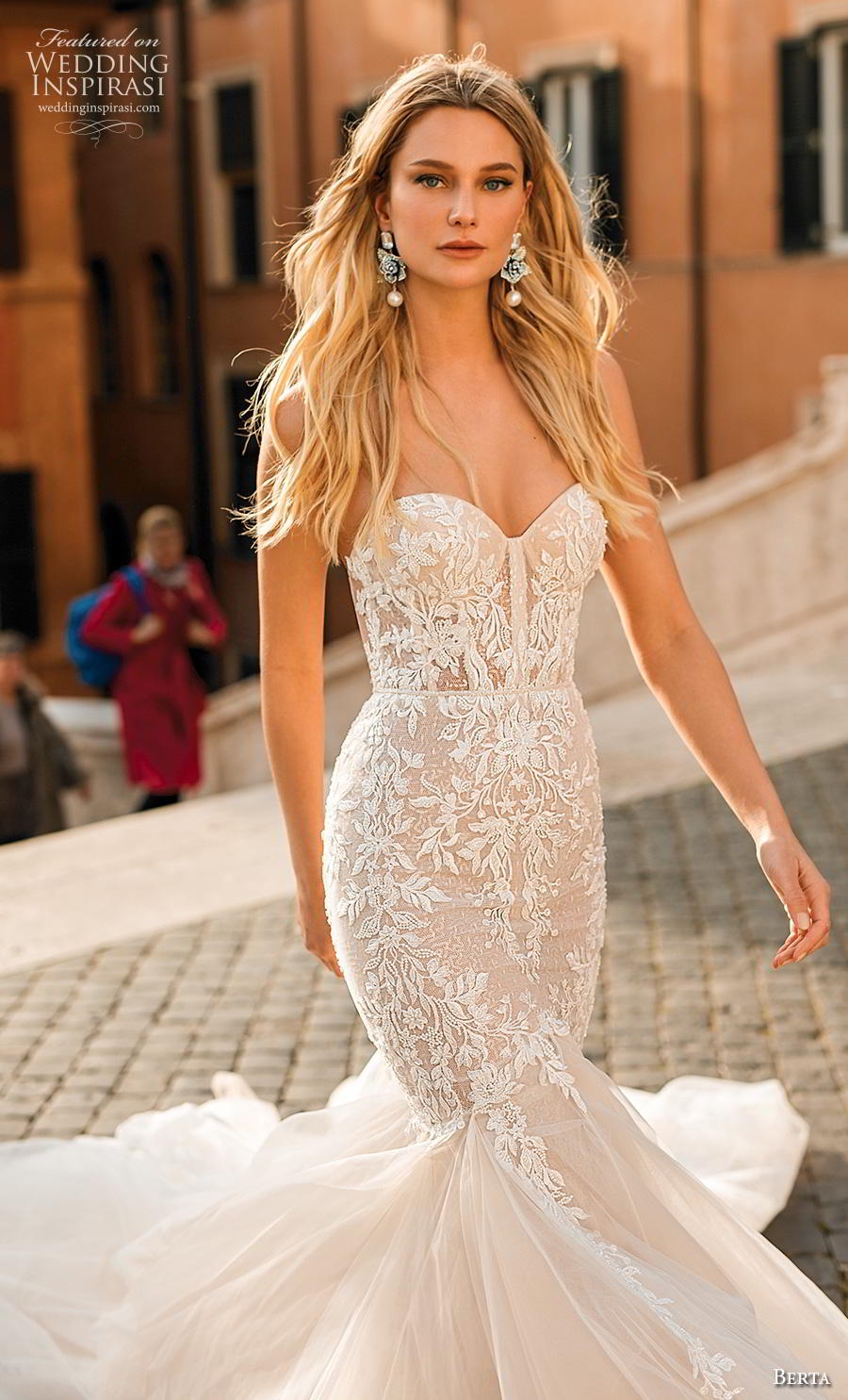 berta 2020 privee bridal strapless sweetheart neckline heavily embellished bodice romantic mermaid wedding dress mid back chapel train (4) zv