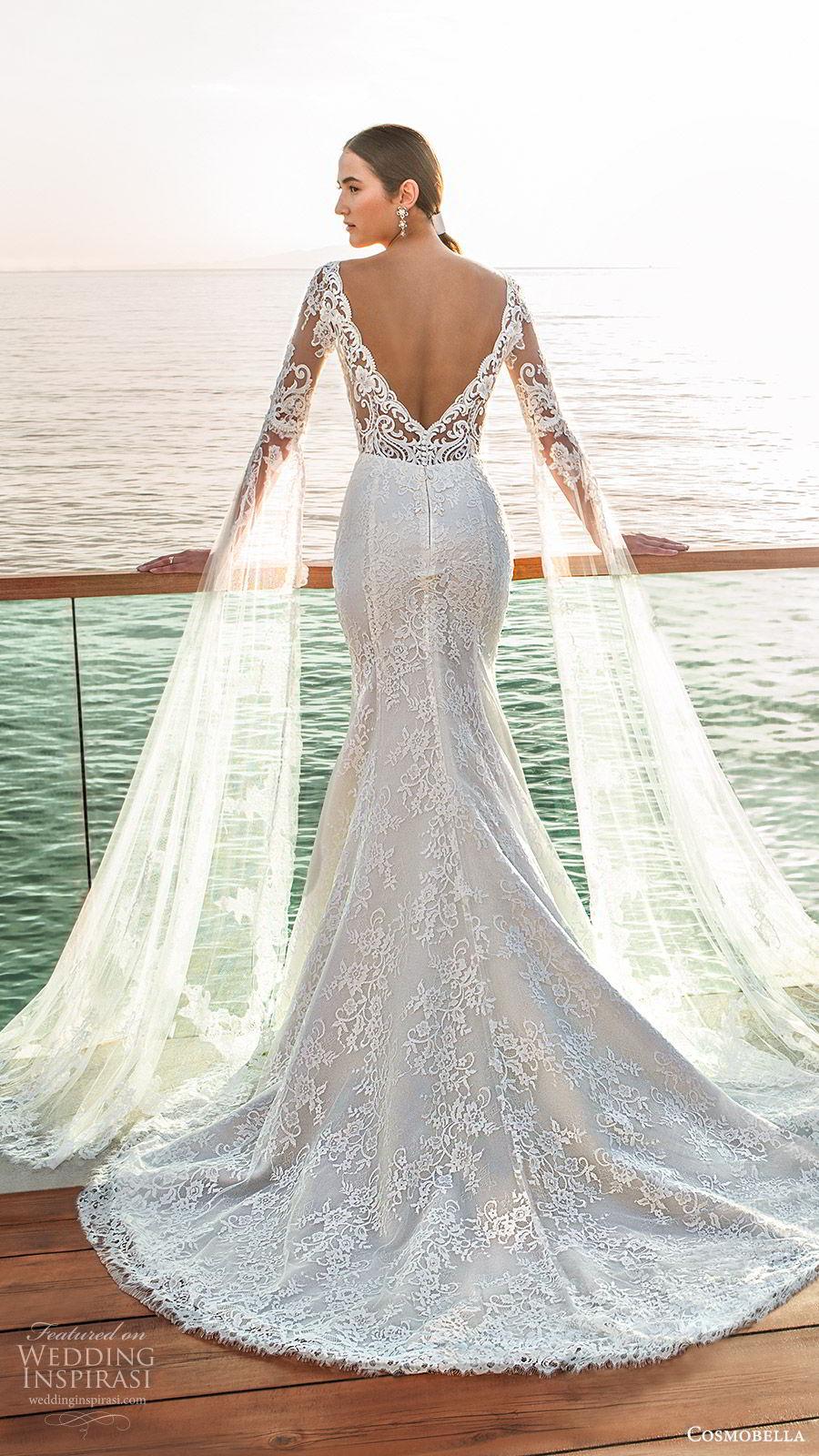 cosmobella 2020 bridal illusion half sleeves detached long split sleeves sweetheart neckline fully embellished lace fit flare trumpet mermaid wedding dress (6) romantic vintage chapel train bv